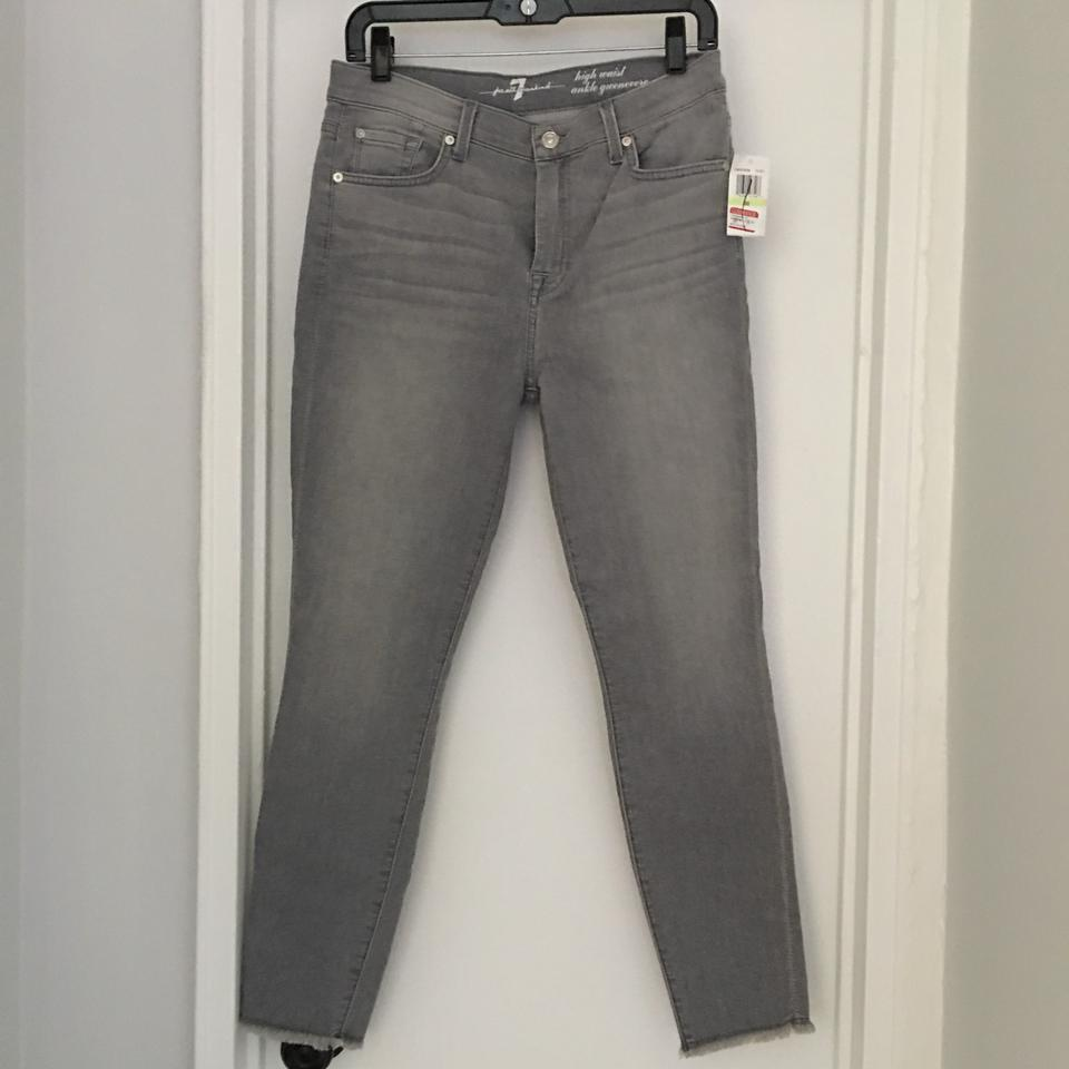 832f5ac5e6c 7 For All Mankind Light Grey Distressed High Waist Ankle Gwenevere Skinny  Jeans