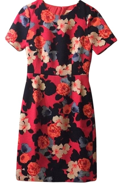 Item - Fuscia Pink Watercolor Floral Sheath Mid-length Work/Office Dress Size 0 (XS)