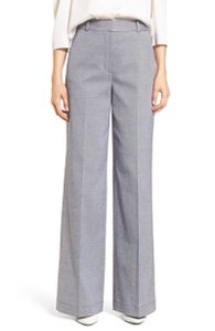 Lewit Designer Career Classic Tailored Trouser Pants Gray and White