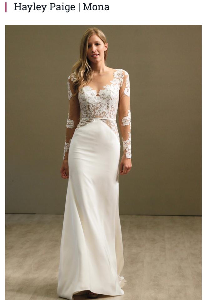 Hayley Paige White Ivory Lace Silk Crepe Mona 6559 Vintage Wedding Dress Size 14 L 52 Off Retail