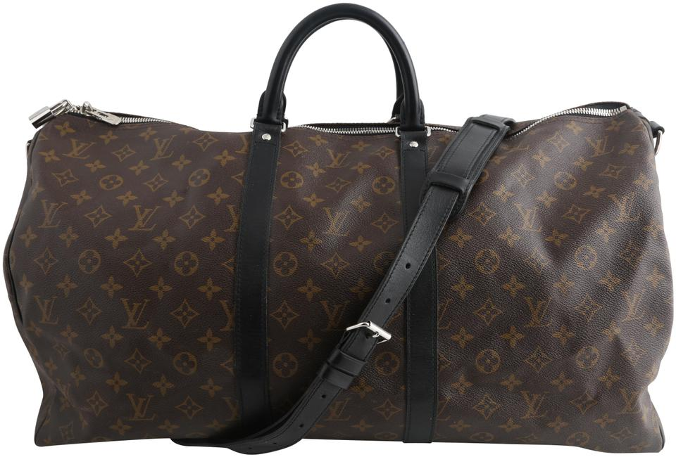 e0ab081dbf1e Louis Vuitton Keepall Monogram Massacaar Bandouliere 55 Brown Black Coated  Canvas Weekend Travel Bag