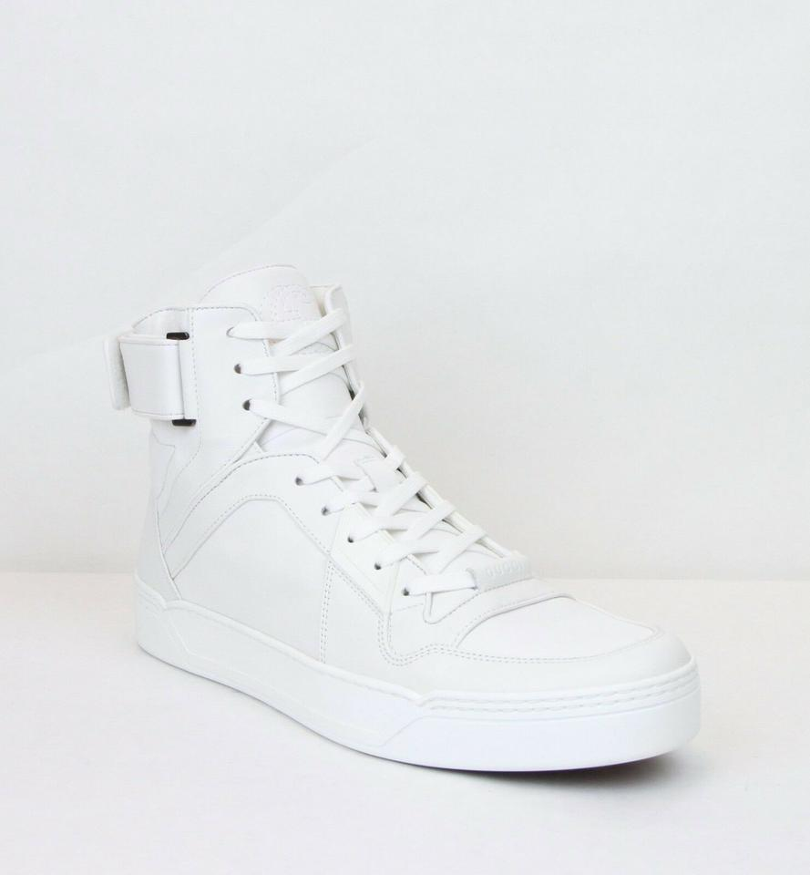 Gucci White Men S Soft Leather High Top Sneakers 9g Us 10 386738