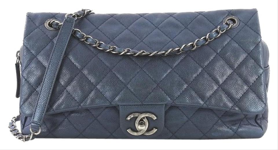 efdfe7210810 Chanel Classic Flap Easy Quilted Caviar Jumbo Metallic Blue Leather  Shoulder Bag