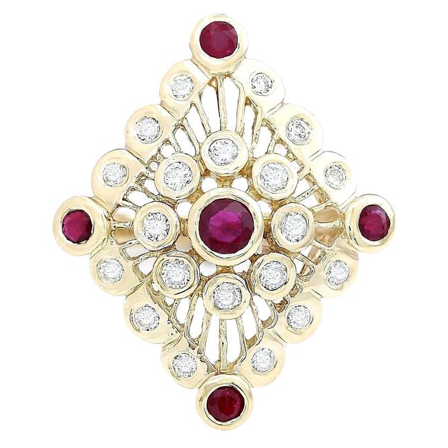 Item - Red 1.90 Carat Natural Ruby 14k Solid Yellow Gold Diamond Ring