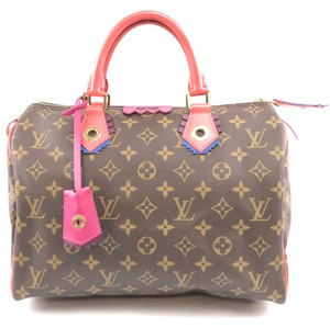 Louis Vuitton Speedy Monogram Lv Totem Satchel in Brown Pink