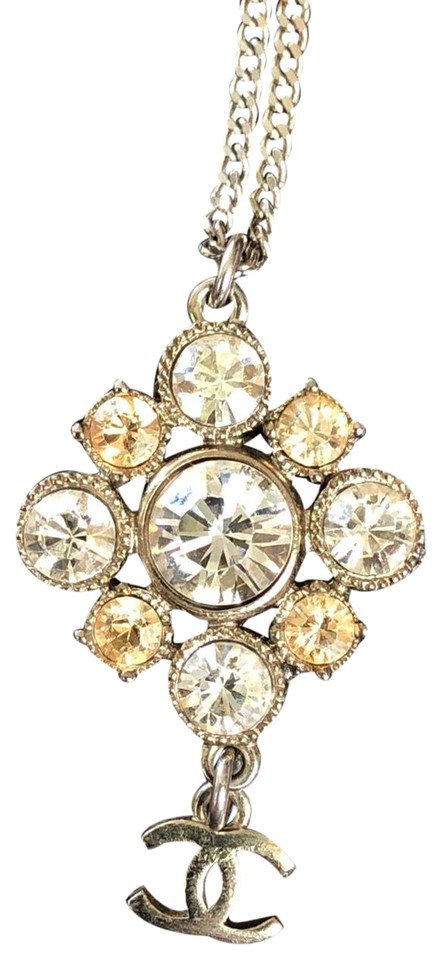 low cost best website usa cheap sale Chanel Silver Stunning Gold and Plated Rhinestone Pendant Necklace ...