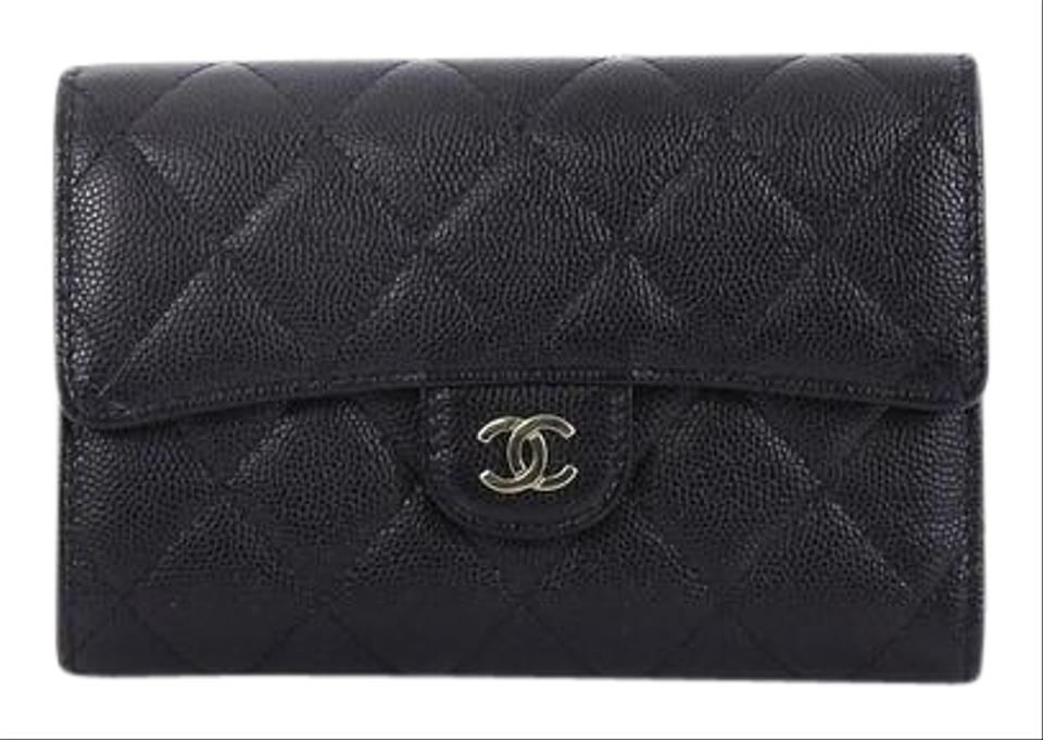 6d4fa0c5331dbb Chanel L-flap Wallet Quilted Caviar Compact Black Leather Clutch ...