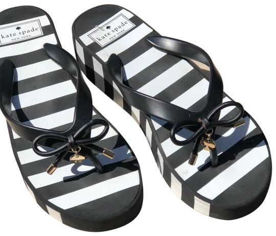 b19d9baa8123 Kate Spade Black and White Stripe Rhett Wedge Flip Flop Sandals Size ...