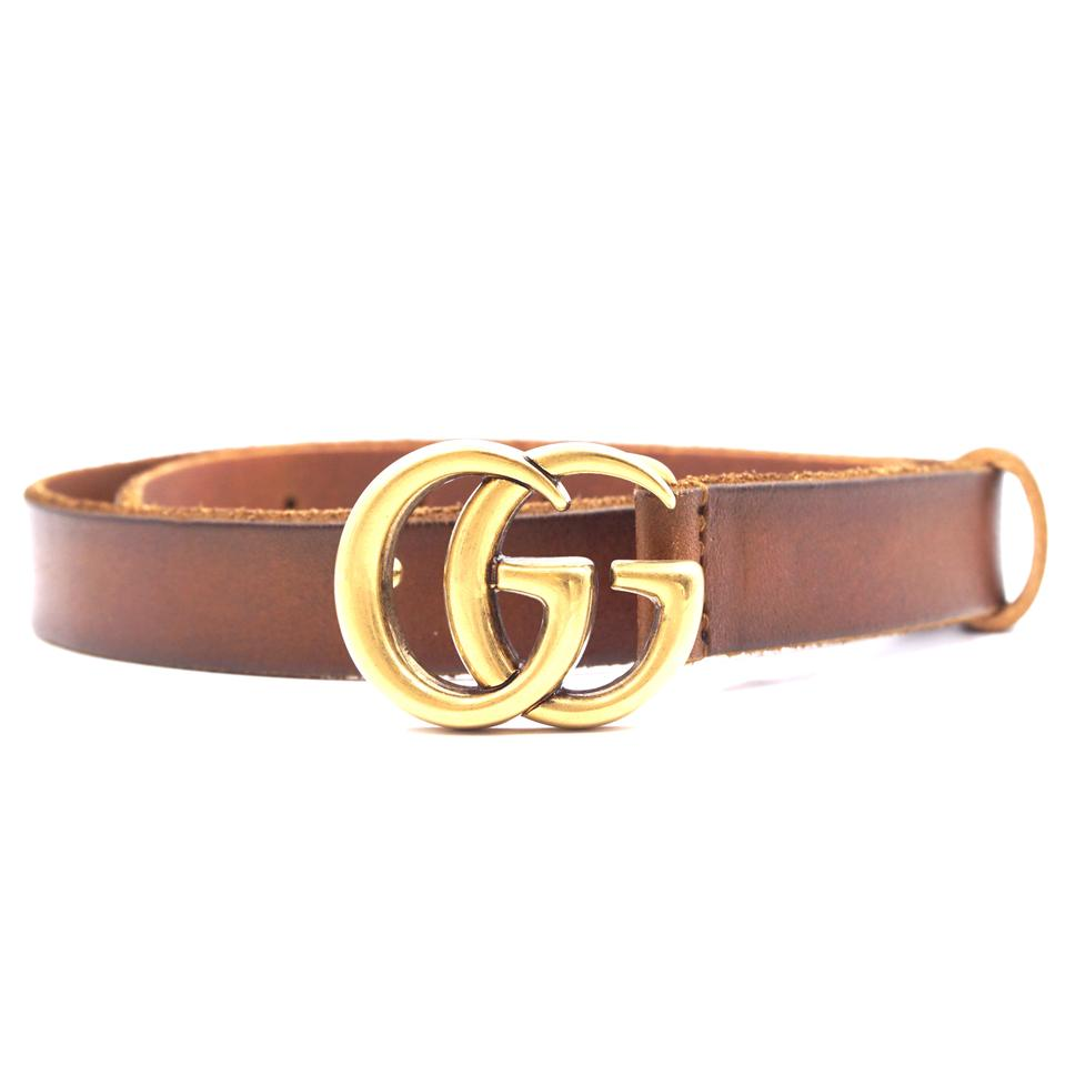 f099e1a8286 Gucci Marmont GG logo gold buckle Distressed Leather Belt size 65 26 Image  0 ...