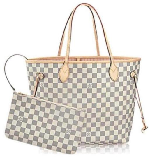 Preload https://img-static.tradesy.com/item/25230500/louis-vuitton-neverfull-mm-damier-azur-rose-ballerine-with-pouch-2019-white-coated-canvas-tote-0-0-540-540.jpg