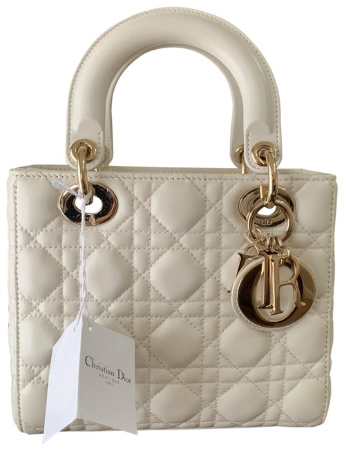 Item - Lady Small White Lambskin Leather Satchel