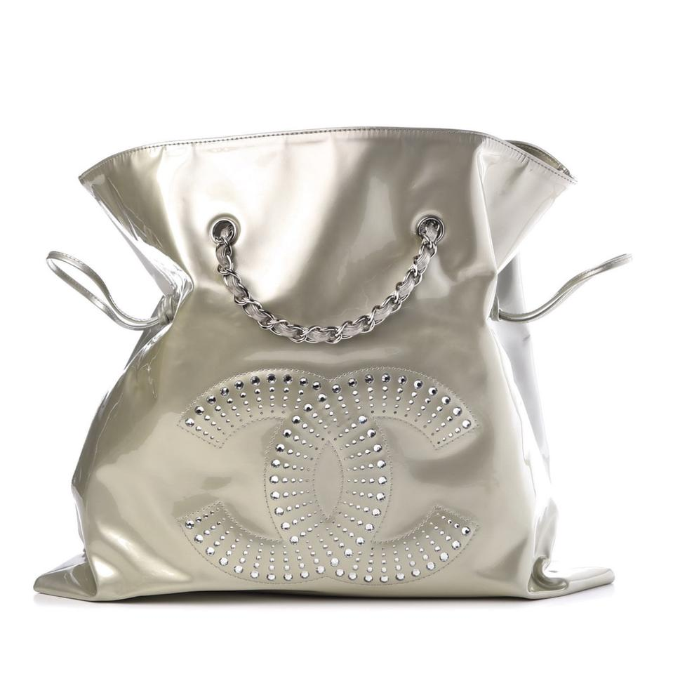 1c5bb556694f Chanel Clear Crystals Patent Leather Bonbons Tote in Silver Image 0 ...