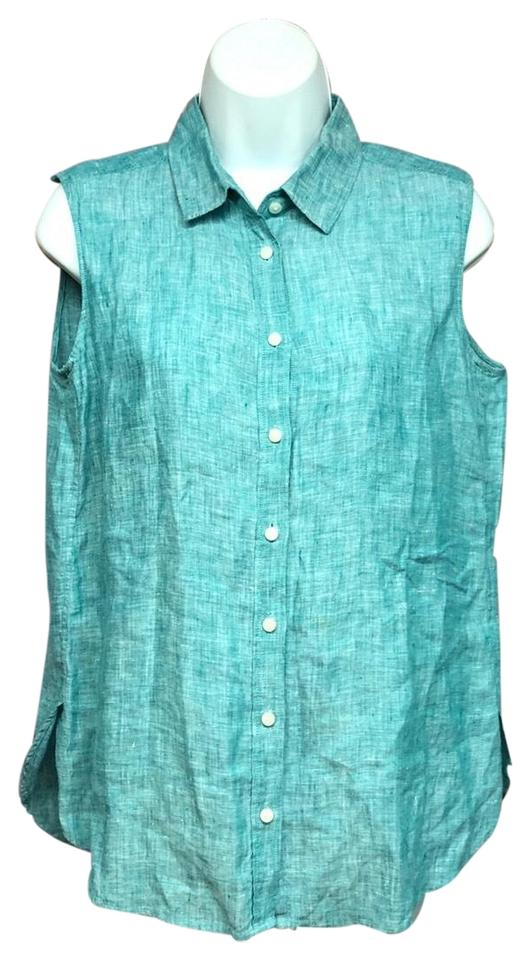 2191825d91a489 Uniqlo Teal Sleeveless Linen S Blouse Size 6 (S) - Tradesy
