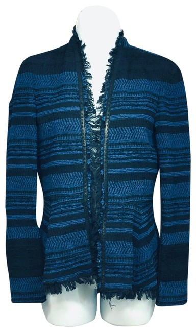 Item - Blue/Black Fringed Edges Woven Jacket Blazer Size 2 (XS)