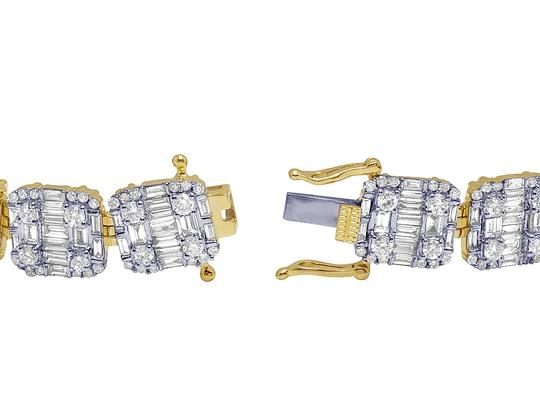 Jewelry Unlimited 14K Yellow Gold Real Diamond Baguette Bracelet 10.95 CT 10MM 7.75