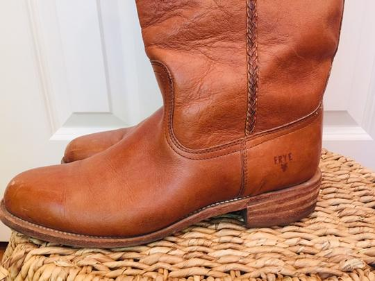 Frye Leather Stacked Heel Iconic Made In Usa Vintage saddle Boots Image 3