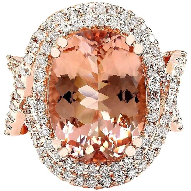 Item - Peach 11.51 Carat Natural Morganite 14k Solid Rose Gold Diamond Ring