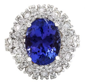 Fashion Strada 7.14 Carat Natural Tanzanite 14K Solid White Gold Diamond Ring