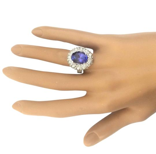 Fashion Strada 7.14 Carat Natural Tanzanite 14K Solid White Gold Diamond Ring Image 1