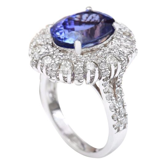 Fashion Strada 7.14 Carat Natural Tanzanite 14K Solid White Gold Diamond Ring Image 2