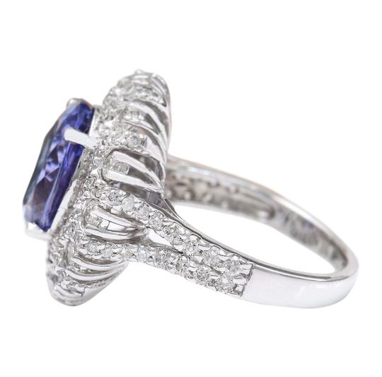 Fashion Strada 7.14 Carat Natural Tanzanite 14K Solid White Gold Diamond Ring Image 3