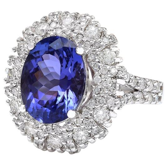 Fashion Strada 7.14 Carat Natural Tanzanite 14K Solid White Gold Diamond Ring Image 4