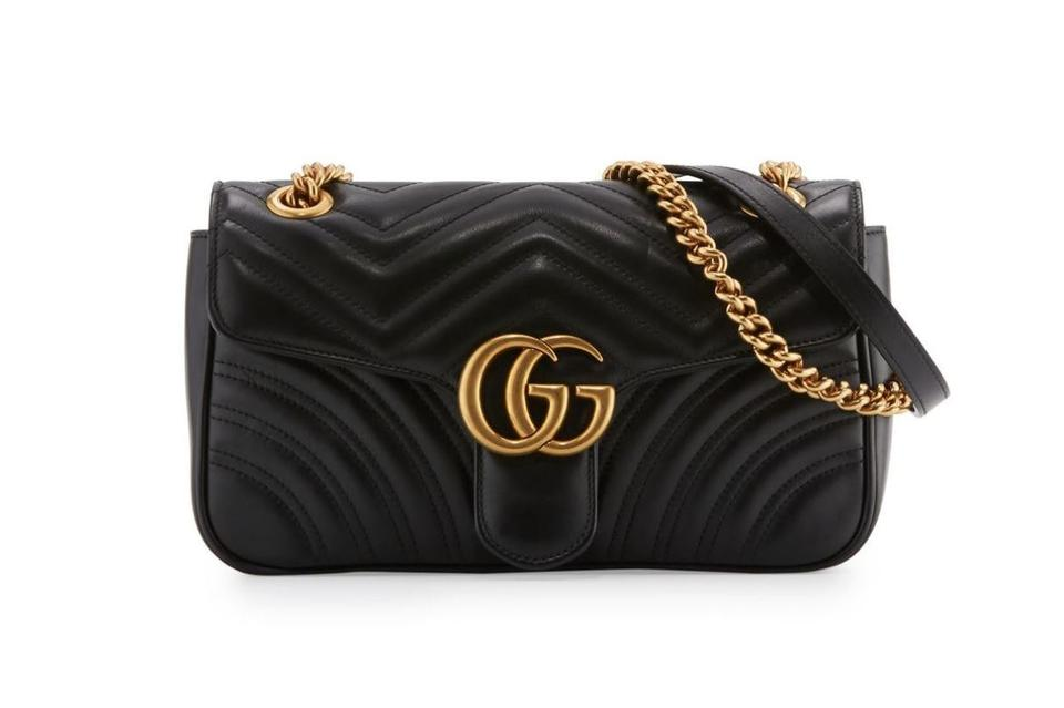 60108d7bfc5 Gucci Marmont New Gg Small Black Leather Shoulder Bag - Tradesy