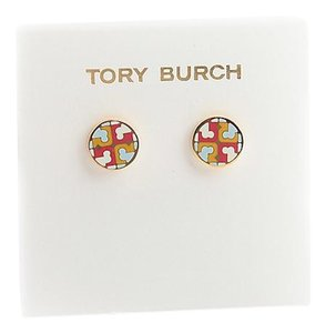 Tory Burch New Tory Burch Multi Circle Stud Earring IVORY SHEER BLUE MULTI Enamel