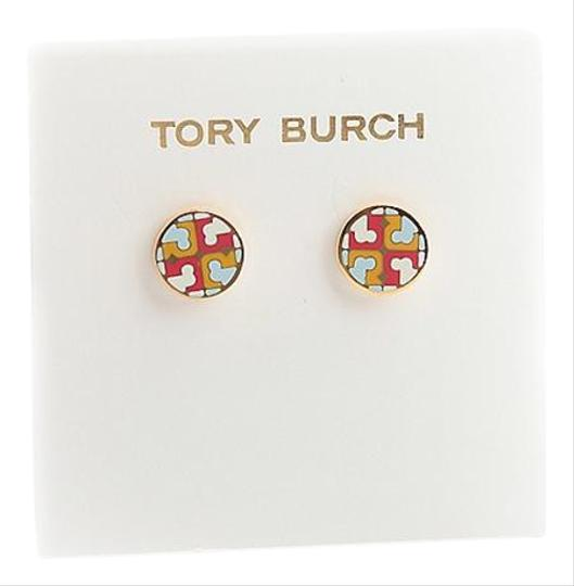 Tory Burch New Tory Burch Multi Circle Stud Earring IVORY SHEER BLUE MULTI Enamel Image 0