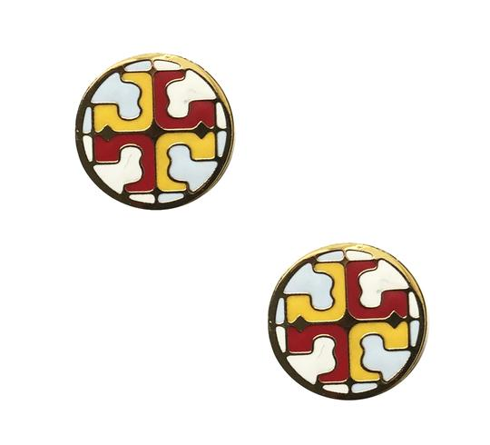 Tory Burch New Tory Burch Multi Circle Stud Earring IVORY SHEER BLUE MULTI Enamel Image 2