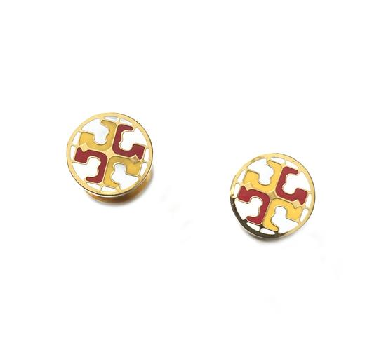 Tory Burch New Tory Burch Multi Circle Stud Earring IVORY SHEER BLUE MULTI Enamel Image 3