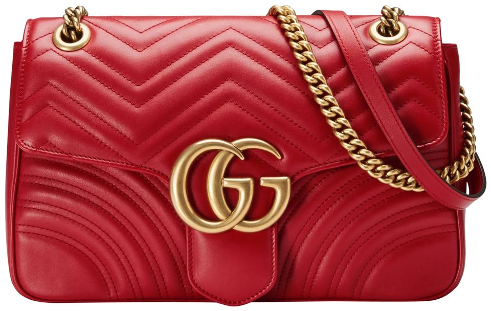 5754787a1eac Gucci Marmont New Gg Medium Quilted Red Leather Shoulder Bag - Tradesy