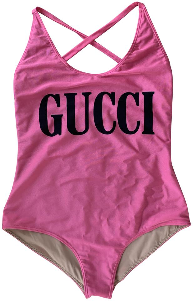 58ded191a5d9c Gucci Pink V-neck Swimsuit One-piece Bathing Suit Size 12 (L) - Tradesy