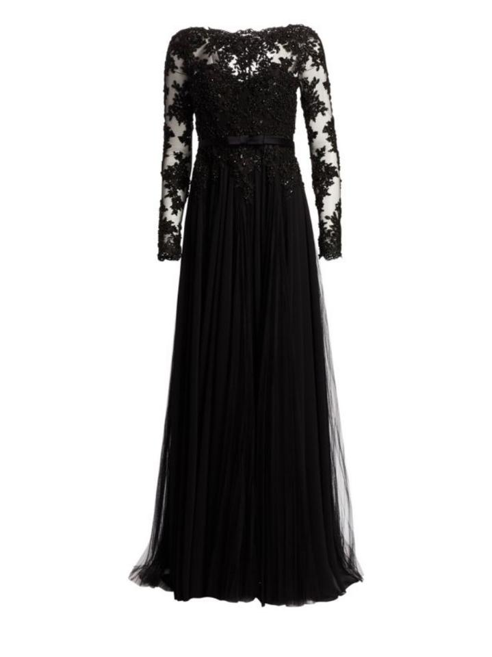 83e6a2d43a4e Badgley Mischka Black Lace Bodice Georgette A-line Gown Formal Dress. Size:  4 ...