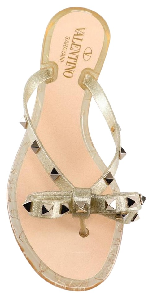 1bc92960a Valentino Gold Rockstud Rubber Jelly Bow Stud Pvc Thong Flip Flop Flat  Sandals