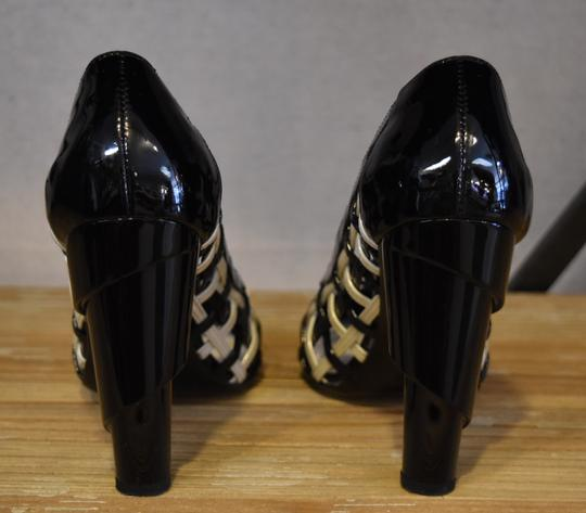 Chanel Woven Patent Leather White & Black Pumps Image 3