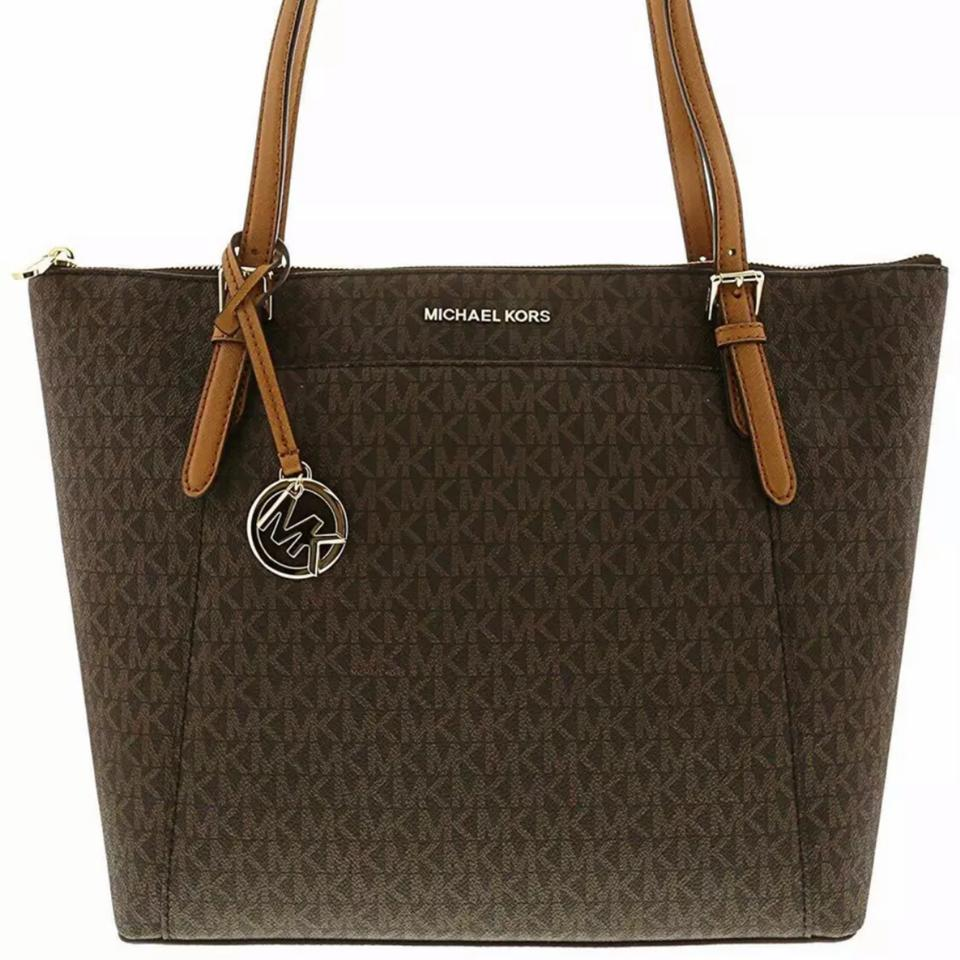 6ad86b18b751 Michael Kors Ciara Large East West Top Zip Mk Signature Brown Leather Tote  - Tradesy