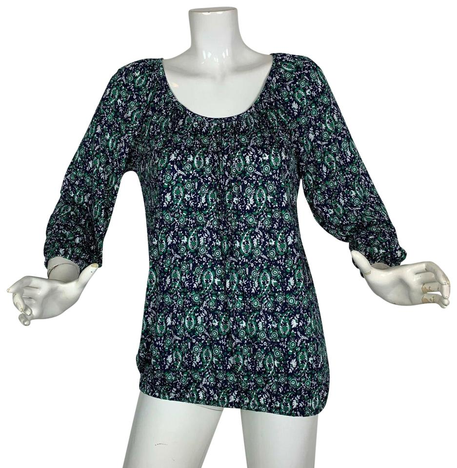 72a0ef7724 MICHAEL Michael Kors Multicolor Green Printed Paisley Scoop Neck Women L  Blouse
