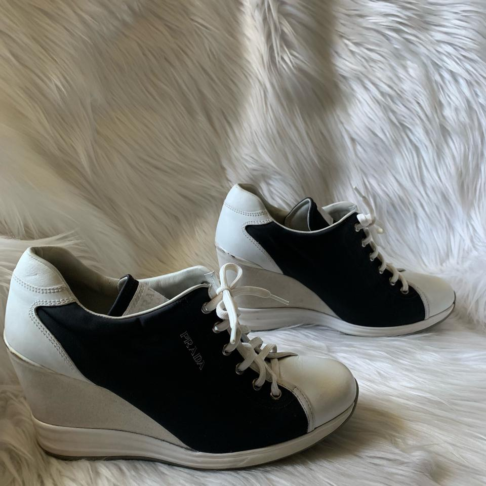 usa cheap sale new high quality promo codes Prada Leather and Nylon Lace Up Wedges Sneakers Size EU 38 (Approx. US 8)  Regular (M, B) 47% off retail