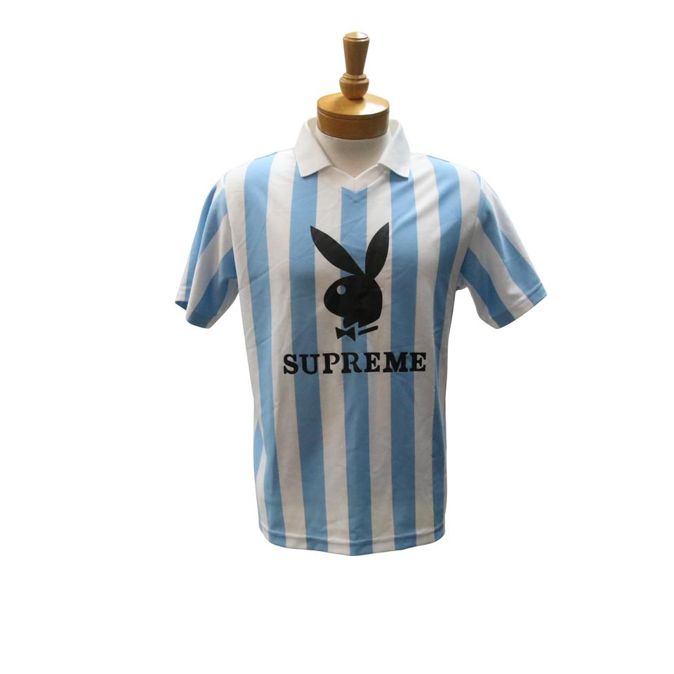 d62a7a448b7 Supreme Blue and White Jersey Playboy Soccer Size S Mens Shirt Image 0 ...