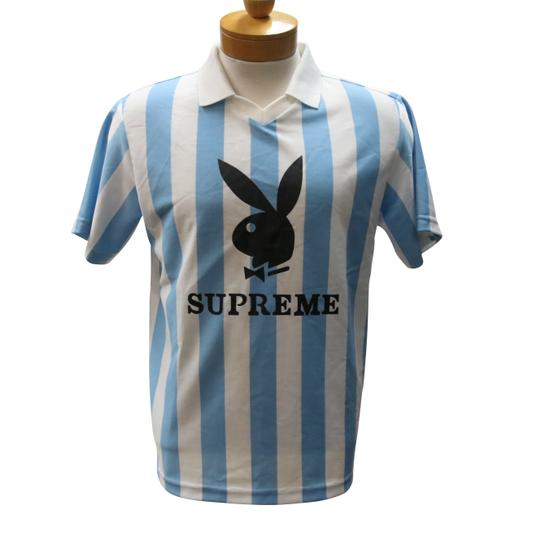 Supreme Blue and White Jersey Playboy Soccer Size S Mens Shirt Image 1