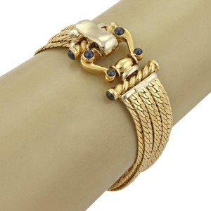 Other Vintage Sapphire 18k Yellow Gold Multi-Strand Chain Bracelet