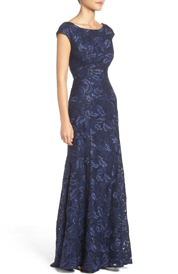 Xscape Navy Blue Embroidered Lace Mermaid