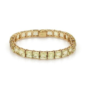 Other Vintage 52 Carats Square Cut Lemon Citrine 14k YGold Tennis Bracelet
