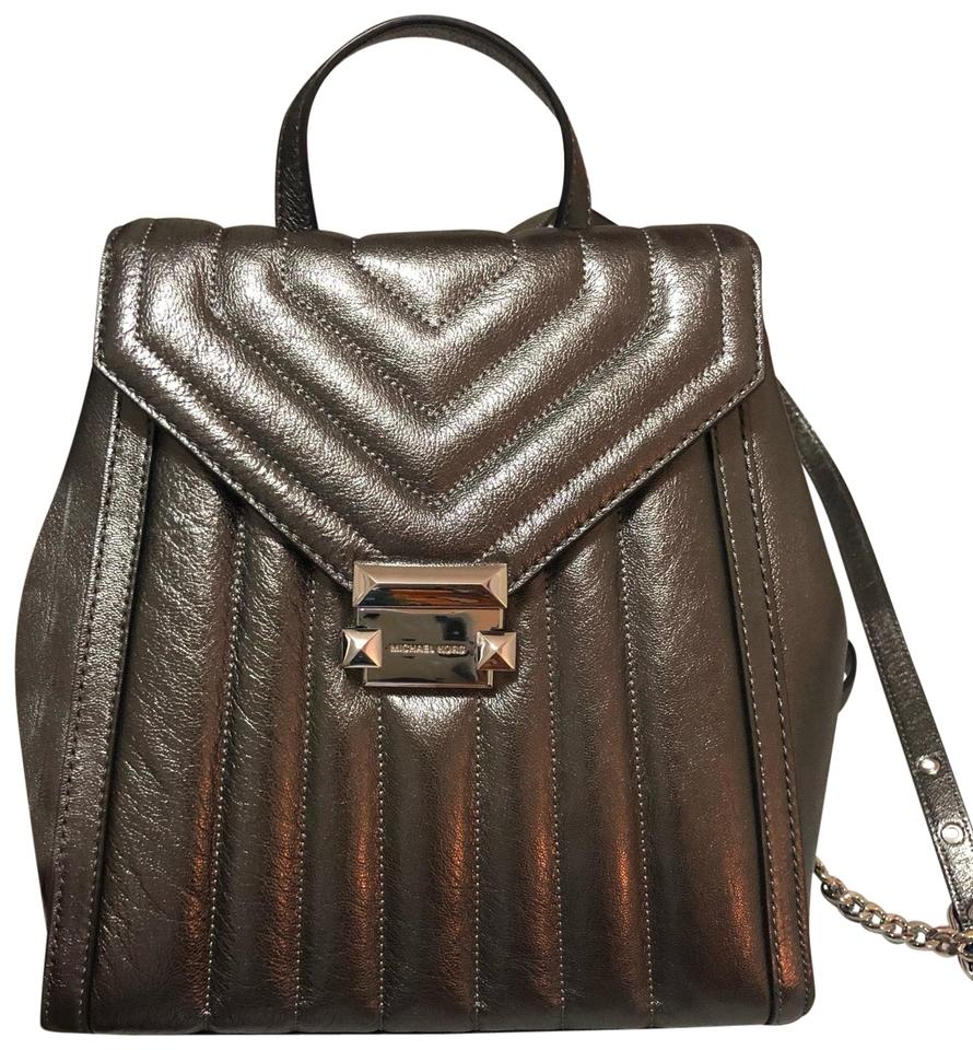 45003e118eea Michael Kors Whitney Quilted Metallic Dark Gray (Anthracite) Leather ...
