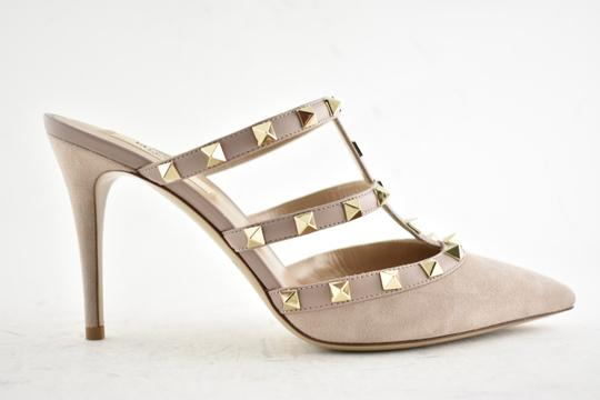 Valentino Studded Pointed Toe Leather Ankle Strap Branded Insole Nude Pumps Image 1