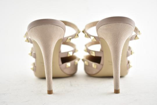Valentino Studded Pointed Toe Leather Ankle Strap Branded Insole Nude Pumps Image 10