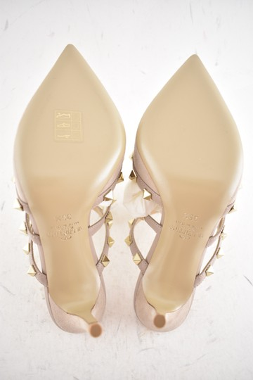Valentino Studded Pointed Toe Leather Ankle Strap Branded Insole Nude Pumps Image 11