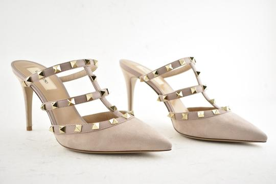 Valentino Studded Pointed Toe Leather Ankle Strap Branded Insole Nude Pumps Image 2