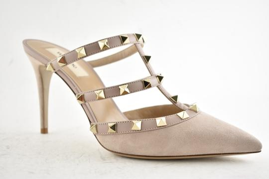 Valentino Studded Pointed Toe Leather Ankle Strap Branded Insole Nude Pumps Image 3